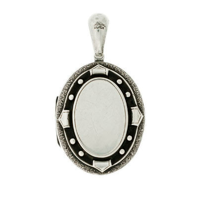 Victorian Sterling Silver Etched & Studded Locket