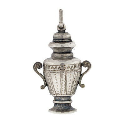 Victorian Sterling Silver Memory Urn Pendant