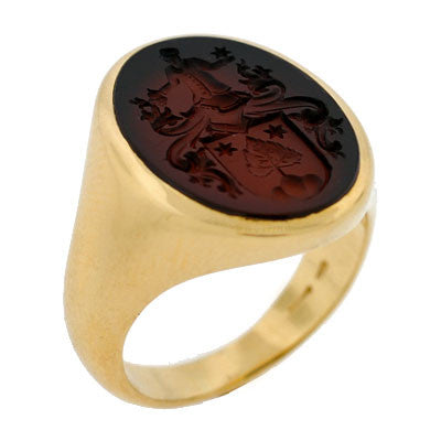 Late Victorian 18kt Sardonyx Family Crest Intaglio Ring A Brandt