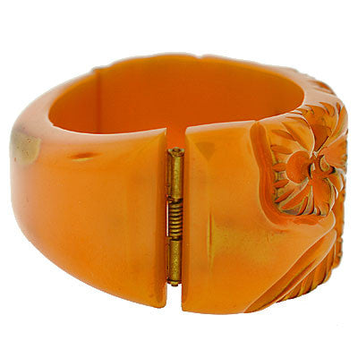 Art Deco Heavily Carved Bakelite Clamper Bracelet