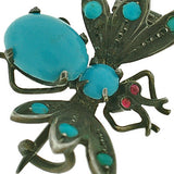 Victorian Sterling Silver, Turquoise & Ruby Butterfly Pin