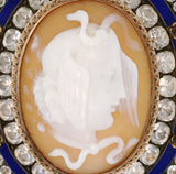 Victorian Sterling/9kt Medusa French Paste Enamel Cameo Pin
