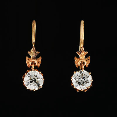 Victorian 14kt Gold Dangling Diamond Earrings 2.18ctw