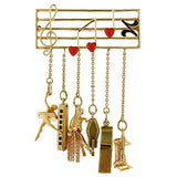 Retro 14kt Enameled Musical Pin w/ Hanging Charms
