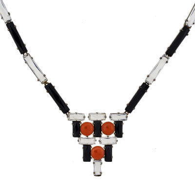 Art Deco Sterling, Onyx, Crystal & Coral Necklace