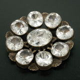 Victorian Large Sterling & French Paste Cluster Pin