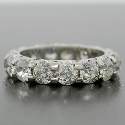 Art Deco Platinum & Diamond Eternity Band Ring 4.25ctw