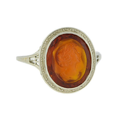 Art Deco 18kt Carved Citrine Cameo Filigree Ring