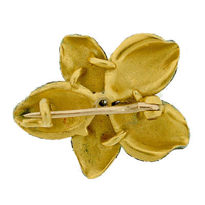 Antique Enamel Pearl Gold Pansy Pin Pendant For Sale at