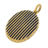 Victorian 15kt Black Striped Enameled Locket