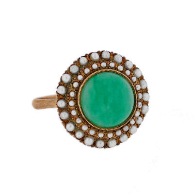 Victorian 14kt Gold Cabochon Jade & Seed Pearl Ring