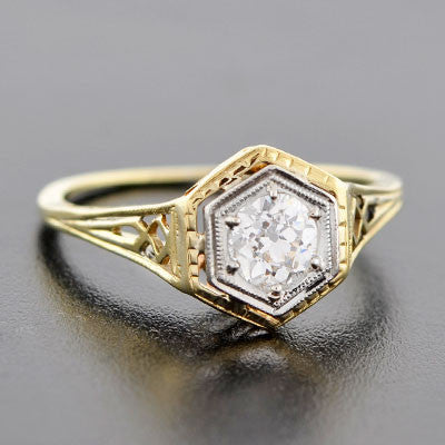 Edwardian Platinum & 18kt Gold Diamond Engage Ring .54ct