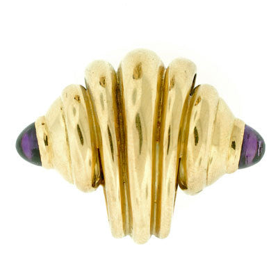Estate 18kt Gold & Amethyst Seashell Clip-On Earrings