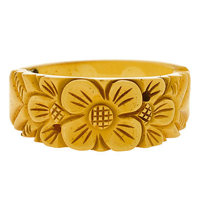 Retro Carved Flower Yellow Bakelite Clamper Bracelet