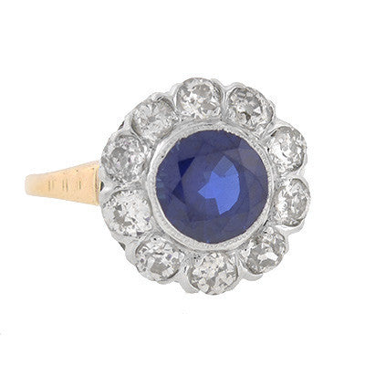 Edwardian 14kt & Platinum Sapphire & Diamond Ring 2.18ct