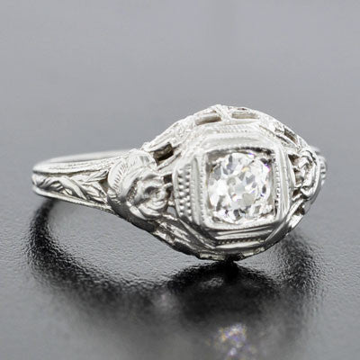 Art Deco 18kt Gold Diamond Engagement Ring .35ct