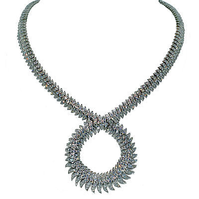 Modern 18kt Gold Handmade Diamond Encrusted Necklace 16.53 ctw