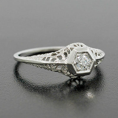 Art Deco 14kt Filigree Diamond Engagement Ring