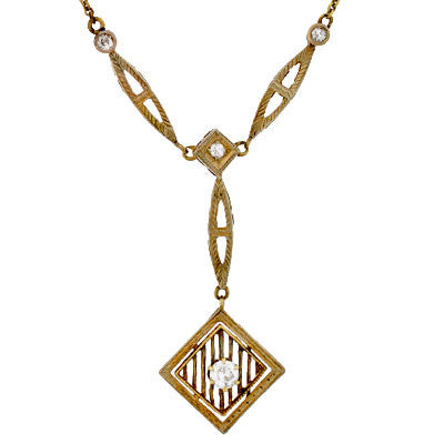 Edwardian 14kt Gold & Diamond Lavalier Necklace