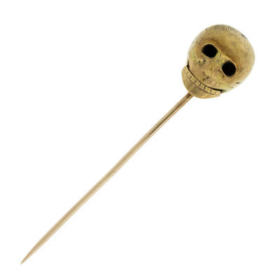 Georgian 15kt Gold Memento Mori Skull Stick Pin