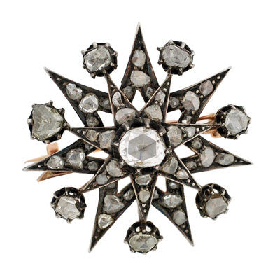 Early Victorian Silver Topped Rose Cut Diamond Starburst Pin