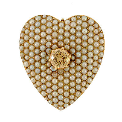 Victorian 14kt Pave Pearl Heart Pin/Pendant w/ Sapphire