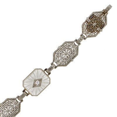 Art Deco 14kt Rock Quartz Diamond Filigree Bracelet
