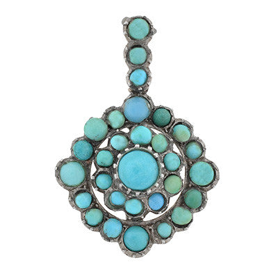 Victorian 10kt Persian Turquoise Pendant