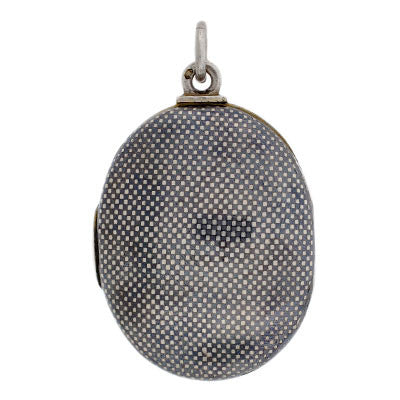 Victorian Sterling Silver & Niello Checkerboard Locket