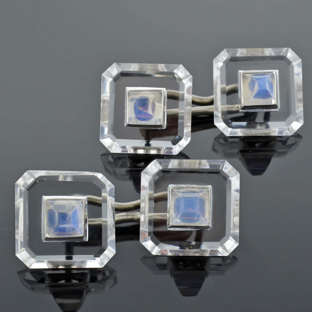 Art Deco 14kt Rock Quartz Crystal & Moonstone Cufflinks