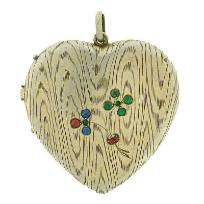 Victorian Silver Gilt Etched Heart Locket w/ Jewels