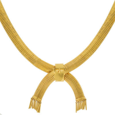 Victorian 15kt Gold Buckle Gooseneck Chain Necklace