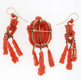 Victorian Carved Coral Pin & Pendant & Earrings Set