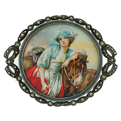 Victorian Sterling Silver & Hand Painted Porcelain Pin