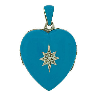 Victorian Sterling & Enamel Heart Locket w/ Pearls
