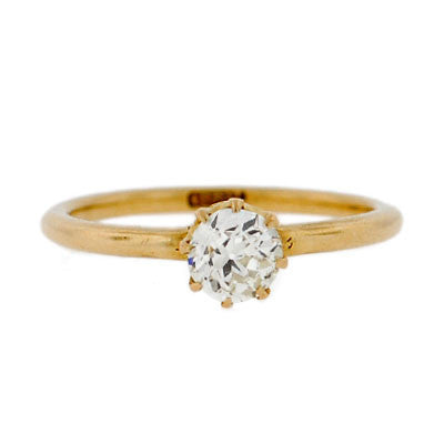 Late Victorian 18kt Yellow Gold Diamond Engage Ring .65ct