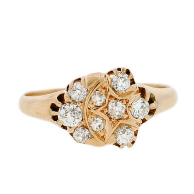 Victorian 14kt Diamond Moon & Star Cluster Ring