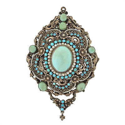 Arts & Crafts Hungarian Silver Gilt Turquoise & Pearl Pin/Pendant
