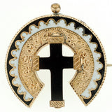 Victorian 15kt Onyx Cross & Enamel Earring & Pin Set