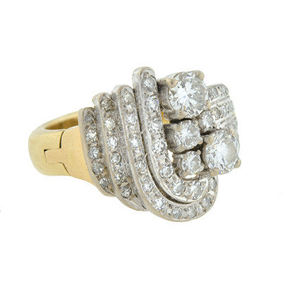 Retro 14kt & Diamond Dramatic Step-Up Ring
