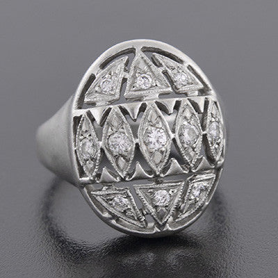 Retro 14kt White Gold Diamond Domed Cutout Ring
