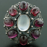 Early Retro Huge Sterling Moonstone & Garnet Cluster Ring
