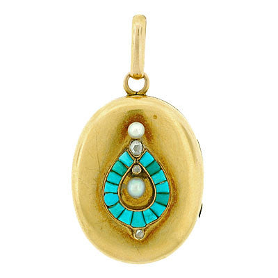 Victorian 15kt Turquoise, Pearl & Diamond Locket