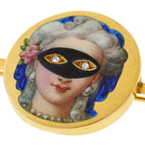 Victorian 18kt & Diamond Masked Woman Enamel Pin