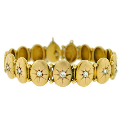 Victorian 14kt Button Bracelet w/ Diamonds .70ctw
