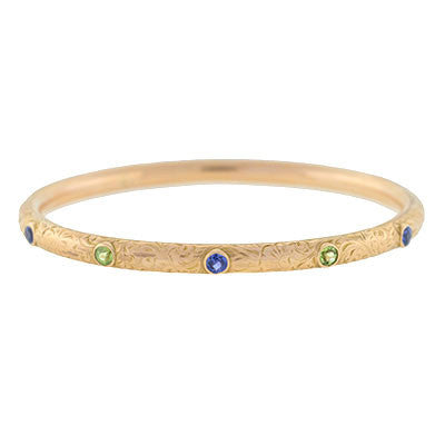 Victorian 14kt Sapphire & Peridot Etched Bangle Bracelet