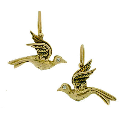 Victorian 14kt Hand Wrought Gold Bird Earrings w/ Diamonds