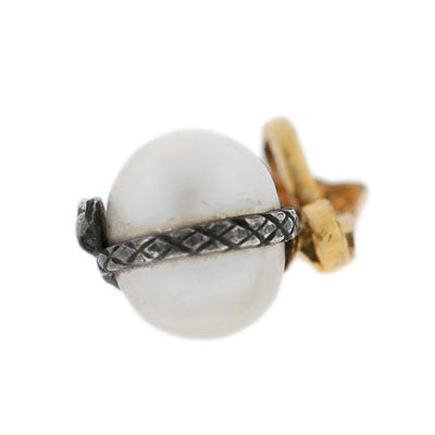 Victorian 14kt & Sterling Pearl Snake Charm