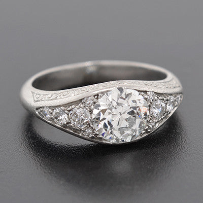 Art Deco Platinum & Diamond Engagement Ring 1.43ct
