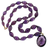 Late Victorian Sterling Carved Amethyst Pendant & Beads